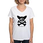 Pirate Corgi Skull Women's V-Neck T-Shirt