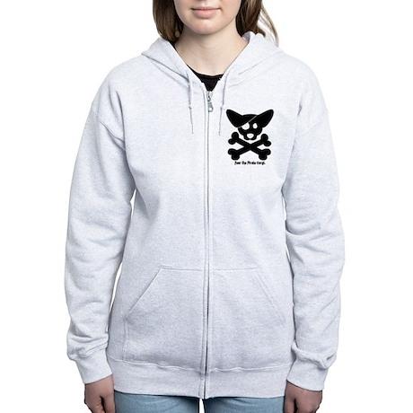 Pirate Corgi Skull Women's Zip Hoodie