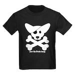 Pirate Corgi Skull Kids Dark T-Shirt