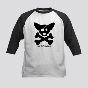 Pirate Corgi Skull Kids Baseball Jersey