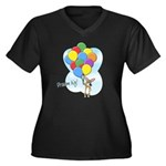 Balloon Bunch Corgi Women's Plus Size V-Neck Dark