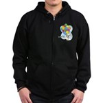 Balloon Bunch Corgi Zip Hoodie (dark)