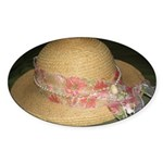 Elegantly Decorated Derby Hat oval stickers