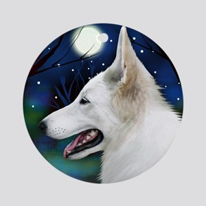 White German Shepherd Dog Moon Ornament (Round)