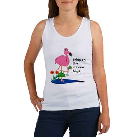 Flamingo on vacation with martini on Women's Tank