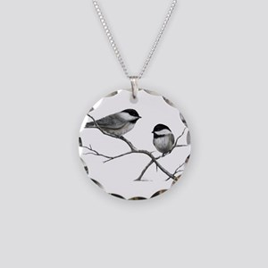chickadee song bird Necklace Circle Charm