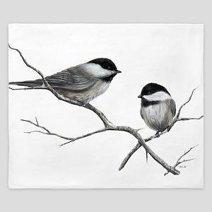 chickadee song bird King Duvet
