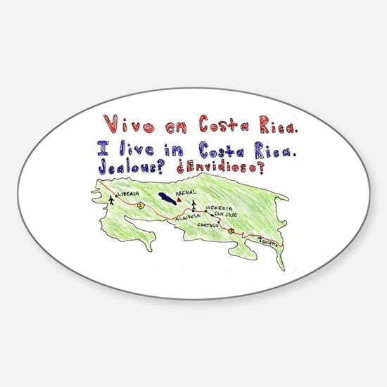Costa Rica Map Oval Decal