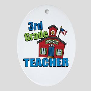 3rd Grade Teacher Oval Ornament