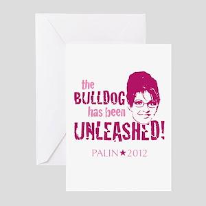 Bulldog Unleashed Palin 2012 (pink) Greeting Cards