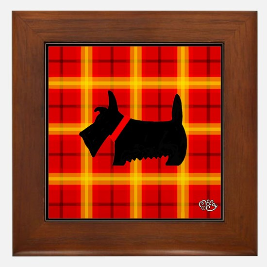 Red Plaid Scottie Framed Tile