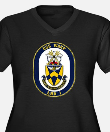 USS Wasp LHD-1 Navy Ship Women's Plus Size V-Neck