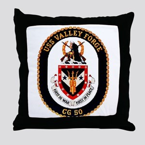USS Valley Forge CG-50 Navy Ship Throw Pillow