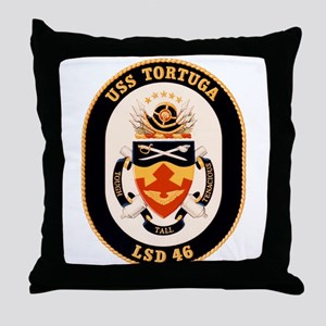 USS Tortuga LSD-46 Navy Ship Throw Pillow