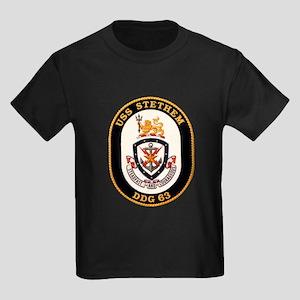 USS Stetham DDG-63 Navy Ship Kids Dark T-Shirt