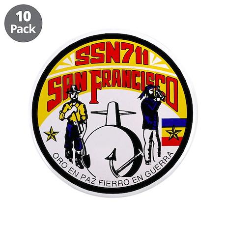 """USS San Francisco SSN-711 Navy Ship 3.5"""" Button (1"""