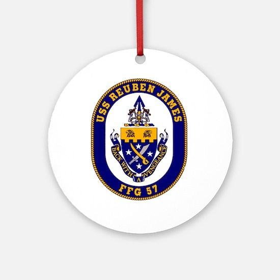 USS Reuben James FFG-57 Navy Ship Ornament (Round)