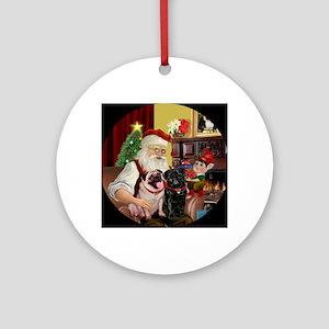 Santa's Two Pugs Ornament (Round)
