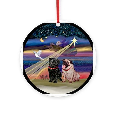 Christmas Star & 2 Pugs Ornament (Round)