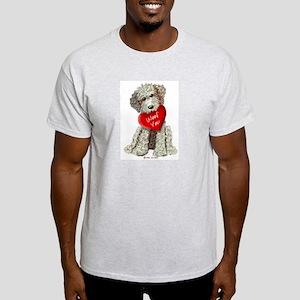 WOOF YOU Doodle Love Ash Grey T-Shirt