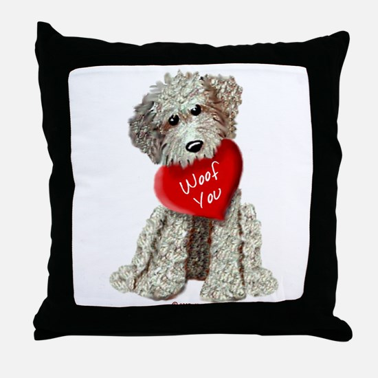 WOOF YOU Doodle Love Throw Pillow