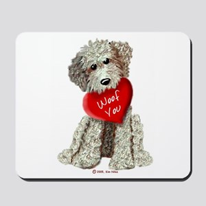 WOOF YOU Doodle Love Mousepad