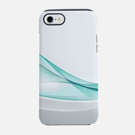 Teal Wave Abstract iPhone 7 Tough Case