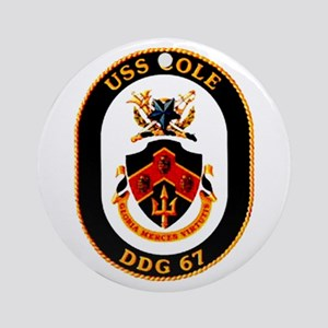 USS Cole DDG-67 Navy Ship Ornament (Round)