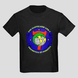 USS Cleveland LPD 7 Navy Ship Kids Dark T-Shirt