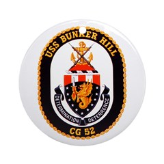 USS Bunker Hill CG-52 Navy Ship Ornament (Round)