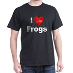 I Love Frogs (Front) Black T-Shirt