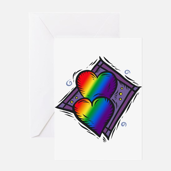 Two Rainbow Hearts Greeting Card