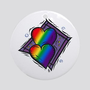 Two Rainbow Hearts Ornament (Round)