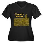 Lincoln Nebr Women's Plus Size V-Neck Dark T-Shirt