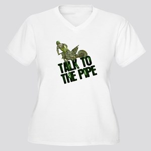 Talk to the pipe Women's Plus Size V-Neck T-Shirt