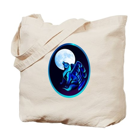 Fantasy Wolf framed Tote Bag