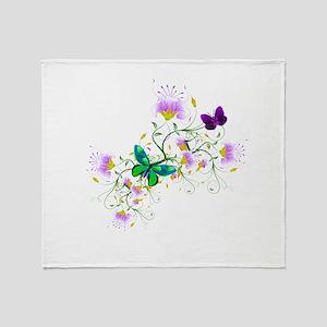Vector Flowers Throw Blanket