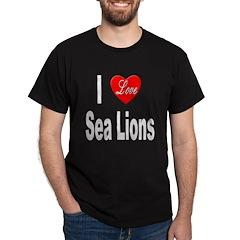 I Love Sea Lions (Front) Black T-Shirt