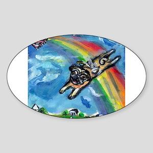 Pug angel flys free Oval Sticker (10 pk)