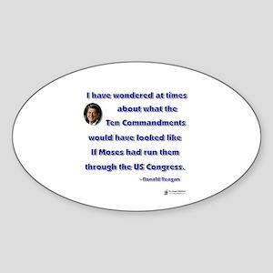 Reagan 10 Commandments Oval Sticker