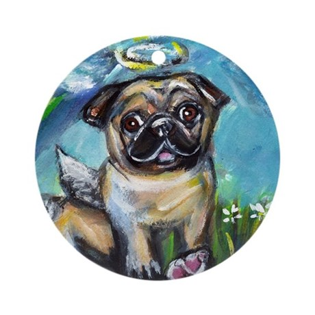 Pug angel dog with pink kon Ornament (Round)