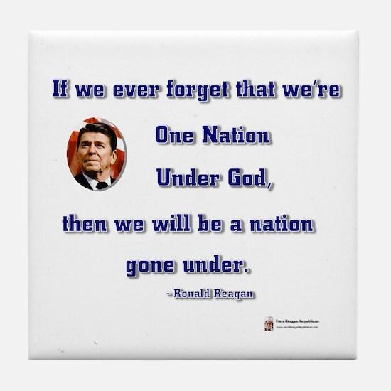 Reagan Nation Under God Tile Coaster