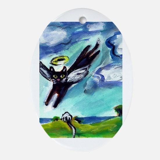 Black cat angel flys free Oval Ornament