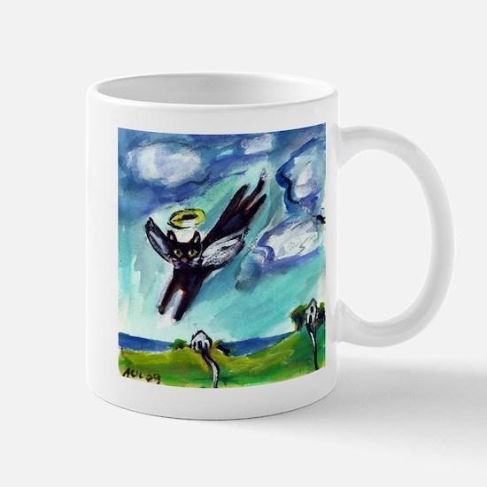 Black cat angel flys free Mug