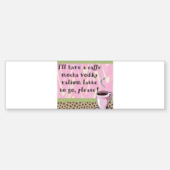 Cafe Vodka Latte Bumper Car Car Sticker