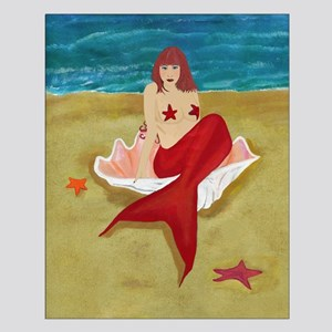 Mermaid In A Shell Small Poster
