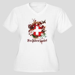 Butterfly Switzerland Women's Plus Size V-Neck T-S