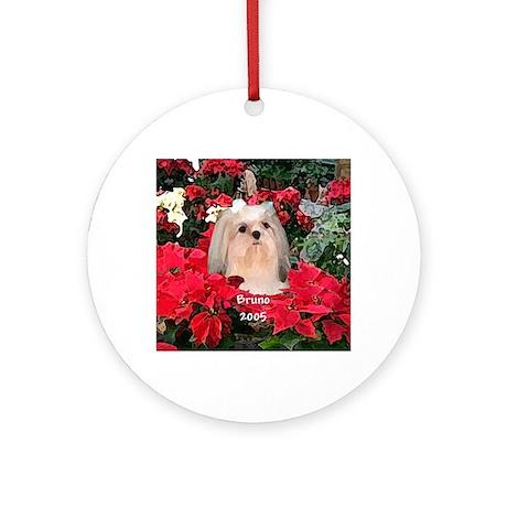 Bruno Shih Tzu Christmas Ornament (Round)