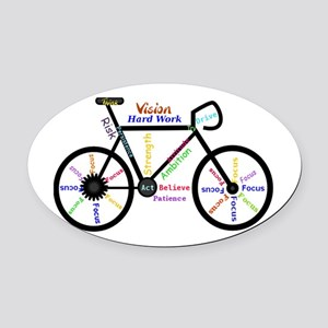 Bike made up of words to motivate Oval Car Magnet