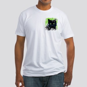 BLACK CAT & SNOWFLAKES Fitted T-Shirt